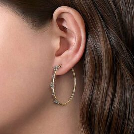40mm diamond station hoop earrings