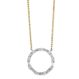 baguette & round diamond circle necklace