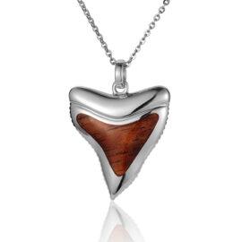 koa wood shark tooth pendant
