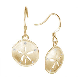 diamond sand dollar hook earrings