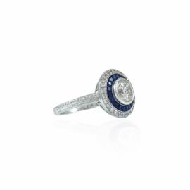 bezel set sapphire & diamond ring