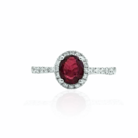 22344 14kt white gold oval ruby .75ct & dia .24ctw ring with halo