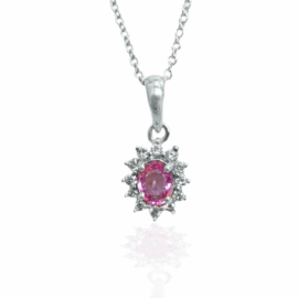 24021 14kt white gold oval pink sapphire .42ct & dia .16ctw halo pendant