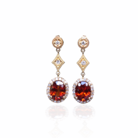 19182 14kt yellow gold spessertite garnet 4.77ctw & diamond .37ctw dangle earrings