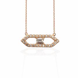 rose gold emerald cut & round diamond necklace