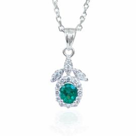 19907 14kt white gold emerald .34ct & dia .21ctw pendant