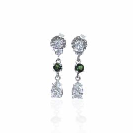 21214 14kt white gold pear dia .60ctw & marquise dia .24ctw & green tourmaline dangle earrings