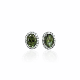 21227 14kt white gold oval green tourmaline 1.83ctw & dia .29ctw earrings