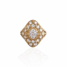fancy shape vintage style diamond ring