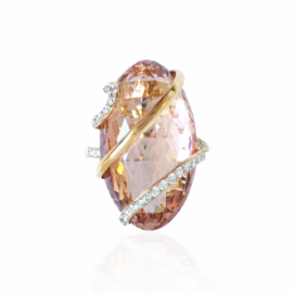 22091 14kt rose gold oval morganite 22.28ct & diamond .31ctw checkerboard cut ring