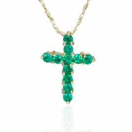 22541 18kt yellow gold emerald 1.35ctw cross pendant