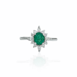 23092 14kt white gold oval emerald .45ct & dia .38ctw ring