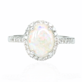 23097 14kt white gold oval opal 1.15ct & diamond .20ctw ring (1)
