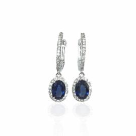 23114 14kt oval sapphire & diamond halo dangle earrings
