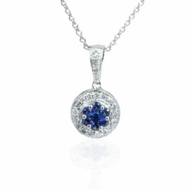 23706 14kt white gold sapphire .23ctw & dia .18ctw cluster pendant