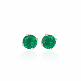 23775 18kt yellow gold round emerald 1.02ctw stud earrings