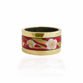 Red Enamel & gold band
