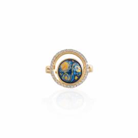 Blue enamel, mop, & diamond halo ring