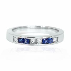 25180 14kt white gold .42 ctw princess cut sapphire & diamond channel set band