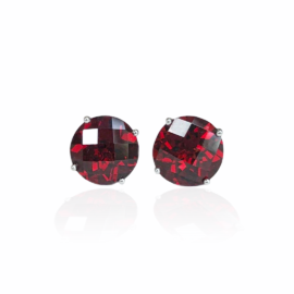 25448 14kt white gold checkerboard top garnet 4.46ctw stud earrings