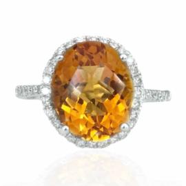 25502 14kt white gold oval citrine 3.83ct & diamond .24ctw ring