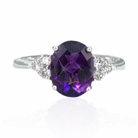 25772 14kt white gold oval amethyst checkerboard top 1.71ct & diamond .18ctw ring