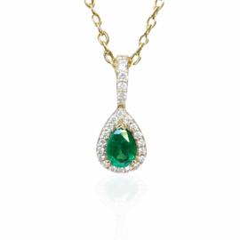 25836 14kt Tear Drop Cut Emerald & Diamond Necklace