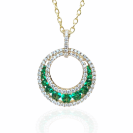 25838 14kt yellow gold emerald .51ctw & dia .39ctw round open circle necklace