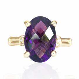 25904 front oval amethyst 4.56ct & diamond .15ctw ring