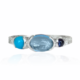 26126 front 14kt white gold cabachon bl tpz 1.10ct sapphire .10ct turquoise .23ct & diamond .21ctw ring