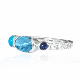26126 side 14kt white gold cabachon bl tpz 1.10ct sapphire .10ct turquoise .23ct & diamond .21ctw ring