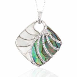 abalone, mop, & diamond necklace
