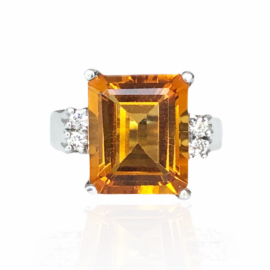 8610 14kt white gold emerald cut citrine & round brilliant cut diamond .15ctw ring