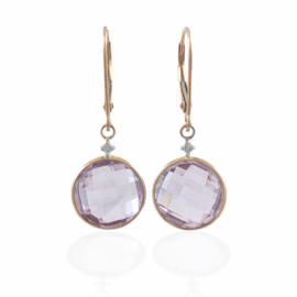 round pink amethyst & diamond earrings