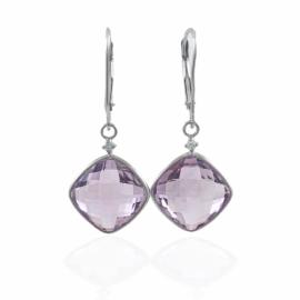 pink amethyst & diamond lever back earrings
