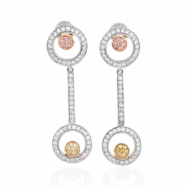 tri color diamond circle dangle earrings